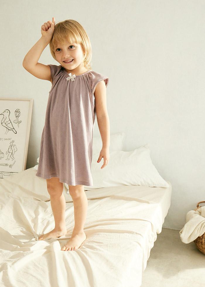 (女童)夏日花園.緹花小飛袖長版睡衣(藕紫)