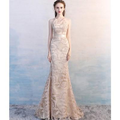 ロングドレス 豪華なドレス カラードレス パーティードレス ウエディングドレス ドレス  二次会ドレス お呼ばれ ピアノ 発表会 結婚式[シャンペン色]
