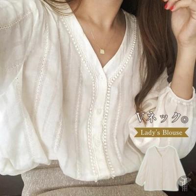 ブラウス レディース 綿麻風 Vネック トップス ボタン飾り 透かし彫り 長袖 シャツ 無地 可愛い 春 夏 ベーシック カジュアル きれいめ おしゃれ
