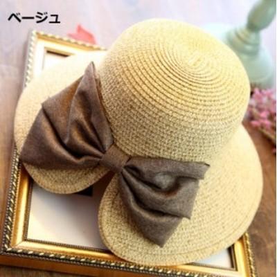 K13K14/つば広 バックリボン 麦わら帽子 おしゃれ UVカット(ベージュ/ネイビー)