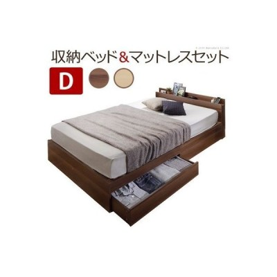i-3500284wl ベッド 〔アレン〕 ダブル ポケットコイルスプリングマットレス付き 引き出し宮付き (ウォールナット)