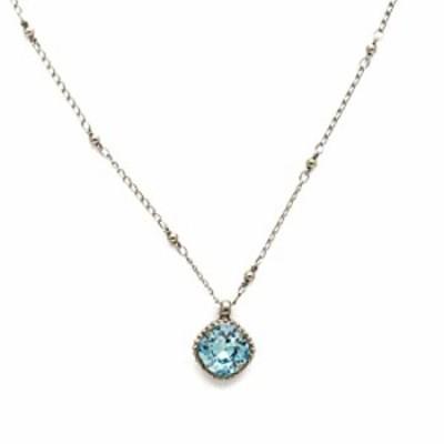 Sorrelli Essentials Cushion-Cut Solitaire Pendant Necklace, Antique Silver-Tone Finish, Aquamarine