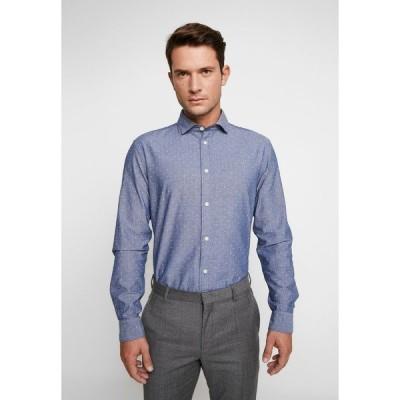セレクテッドオム シャツ メンズ トップス SLHSLIMMARK WASHED - Formal shirt - dark blue