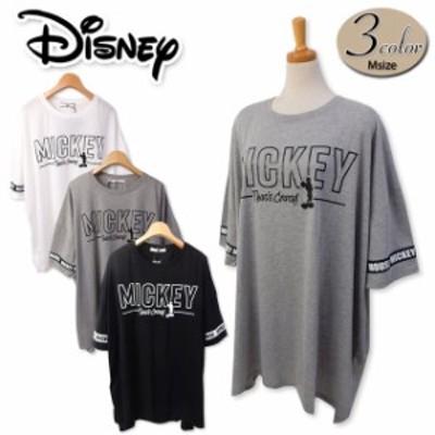 【送料無料】レディース BIGTシャツ 半袖 Disney ディズニー ゆったり ミッキー テープ使い 婦人【メール便対応】