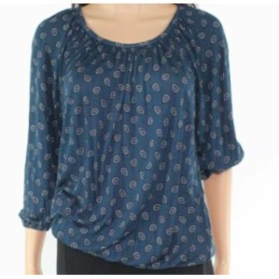 Michael Kors マイケルコルス ファッション トップス Michael Kors Womens Top Blouse Teal Blue Size XS Knit Paisley Printed