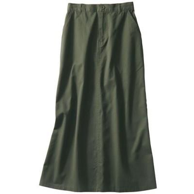 チノフレアロングスカート(綿100%・洗濯機OK)/カーキ/64