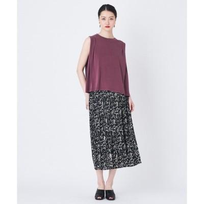 スカート 柄プリーツマキシスカート