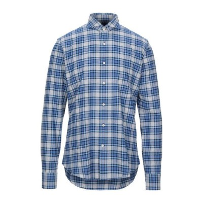 GHIRARDELLI チェック柄シャツ ファッション  メンズファッション  トップス  シャツ、カジュアルシャツ  長袖 ブライトブルー
