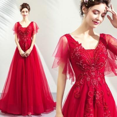 パーティードレス 演奏会 袖あり カラードレス 赤 ロングドレス 花嫁 イブニングドレス 安い カクテルドレス 結婚式 フォーマル 二次会 大きいサイズ