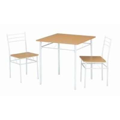 北欧風のテーブル+チェアー2脚 ダイニング3点セット 組み立て式 粉体塗装 北欧風モダン ナチュラル