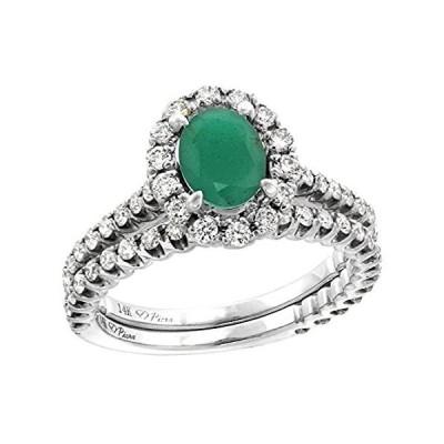 特別価格14k White Gold Diamond Genuine Emerald Halo Engagement Ring Set 2 Piece Ova好評販売中