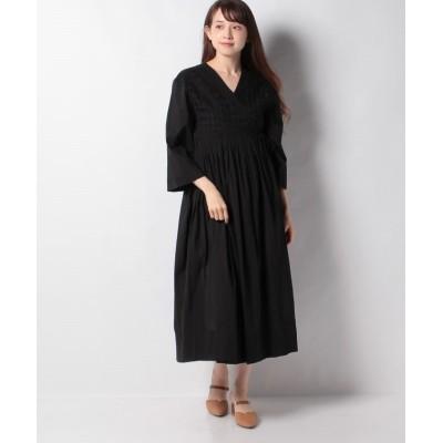 (alcali/アルカリ)【Soffitto】立体刺繍ガウンワンピース/レディース ブラック