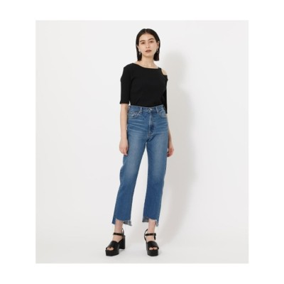 HEM CRASH DENIM STRAIGHT BLU