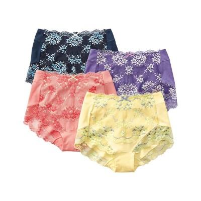 テンセルTM繊維。綿混ストレッチレーシー深ばきショーツ4枚組(L) スタンダードショーツ, Panties