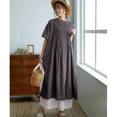 ピンタック使いスタンドカラーワンピース (ワンピース)Dress