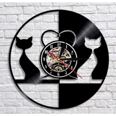 壁掛け時計 おしゃれ アナログ 掛け時計 猫 レコード型 黒猫 DXMA208 2020 新作