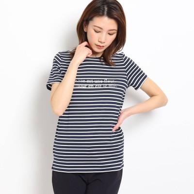 クードシャンス COUP DE CHANCE 【洗える】ボーダーロゴTシャツ (ダークネイビー)