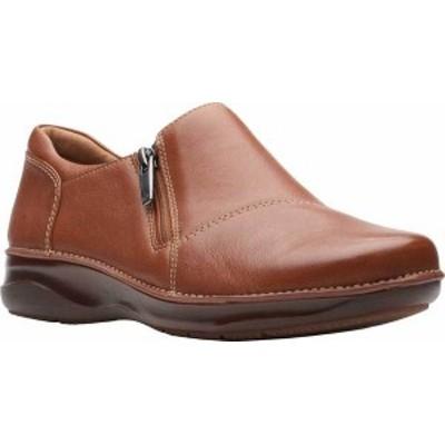 クラークス レディース パンプス シューズ Women's Clarks Appley Zip Up Flat Tan Leather