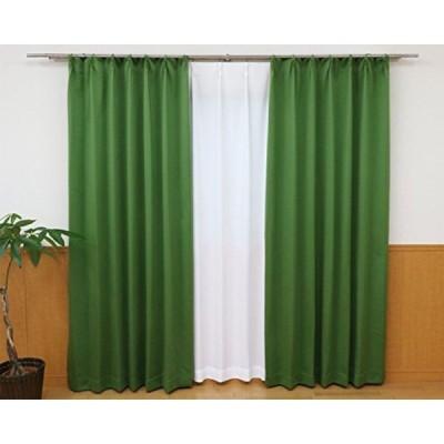 5C遮光カーテン 遮光カーテン グリーン 幅100cm×丈178cm 2枚組 遮熱 省エネ 遮熱 遮光率99.93%