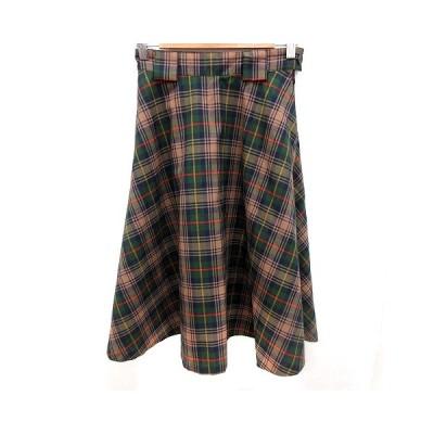 【中古】シンゾーン Shinzone スカート フレア ミモレ ロング チェック 34 茶 ブラウン 緑 グリーン 赤 レッド /RT レディース 【ベクトル 古着】