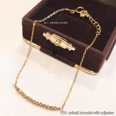 ブレスレット 18金 レディース k18 カットボール ブレスレット キラキラ 18センチ アジャスター付き / k18 cut ball bracelet 18cm