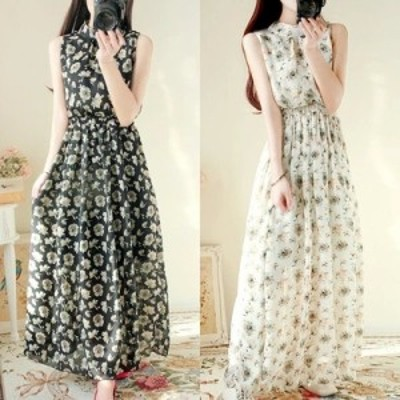 【M~XL】 大きいサイズ レディース ロング ドレス スカート 夏 ノースリーブ 花柄 プリント