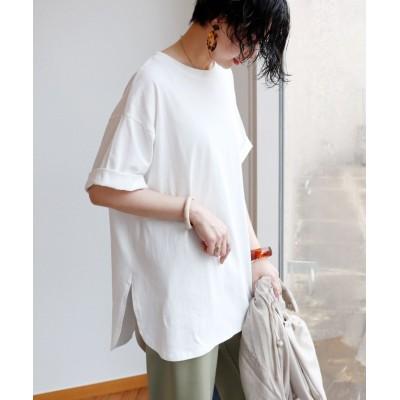 (and Me.../アンドミー)コットン半袖オーバーサイズ裾ラウンドヘムTシャツ/レディース オフホワイト