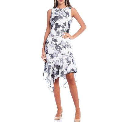 カルバンクライン レディース ワンピース トップス Floral Chiffon Asymmetrical Ruffle Hem Sleeveless Dress Black Cream Multi