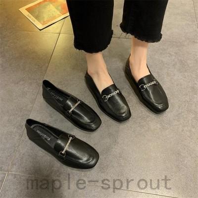 レディースローファー革靴パンプス黒OLローヒールスリッポンウォーキング女子靴
