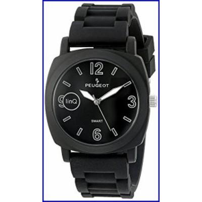 Peugeot  Bluetooth Smart Connected Quartz Metal and Rubber Watch, Color:Black (Model: LQ1001BK)