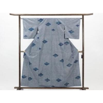 【中古】リサイクル紬 / 正絹グレー地袷真綿紬着物未着用品 (古着 中古 紬 リサイクル品)