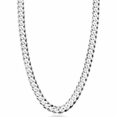 Miabella Solid 925 Sterling Silver Italian 7mm Diamond Cut Cuban Link Curb Chain Necklace for Men Women, 16, 18, 20, 22, 24, 26,