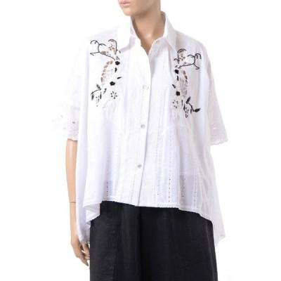 アントニオマラス(ANTONIO MARRAS) ビーズ刺繍ビックシャツ レースアンドレース ホワイト