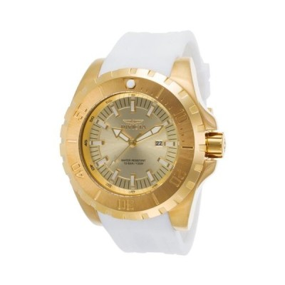 腕時計 インヴィクタ Invicta 23740 Men's Gold Tone Dial White Polyurethane Strap Watch