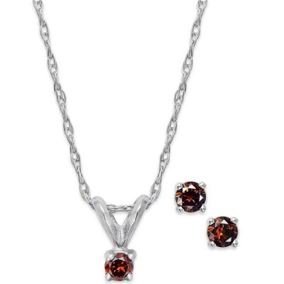 メイシーズ Macy's レディース イヤリング・ピアス 10k White Gold Red Diamond (1/10 ct. t.w.) Necklace and Earring Set No Color