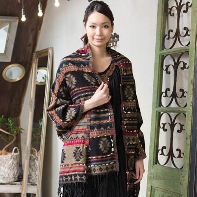 インド刺繍ストール/大判 ストール  秋 冬 冬素材あったか♪
