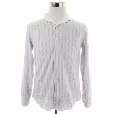 【中古】シップス SHIPS シャツ カットソー オープンカラー 長袖 薄手 コットン ストライプ L 白 トップス メンズ