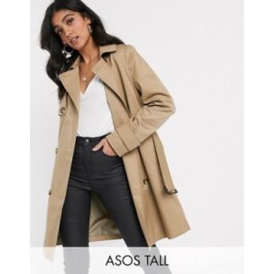 エイソス レディース コート アウター ASOS DESIGN Tall trench coat in stone Stone