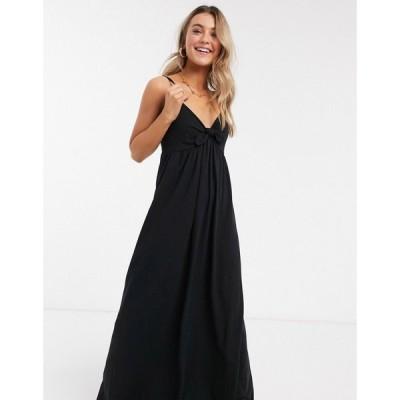 エイソス ASOS DESIGN レディース ワンピース マキシ丈 ワンピース・ドレス strappy bow front maxi dress in black ブラック