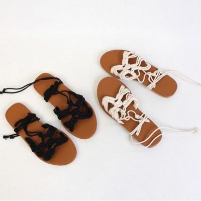 サンダル レディース アンクルストラップ 紐 ヒモ フラット ぺたんこ  ブラック アイボリー 靴 婦人靴