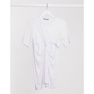 アナザーリーズン Another Reason レディース ワンピース Tシャツワンピース ミニ丈 ワンピース・ドレス mini t-shirt dress with knot front ホワイト