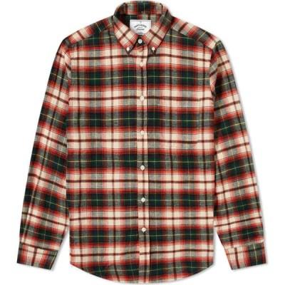 ポーチュギースフランネル Portuguese Flannel メンズ シャツ トップス button down rustic check shirt Green/White/Red