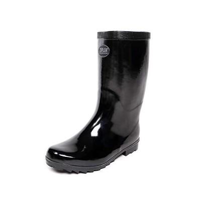 [コーコス信岡] 長靴 レインブーツ ZIPLOA 軽半長靴 メリヤス裏布 吸汗 メンズ ブラック 25 cm 3E