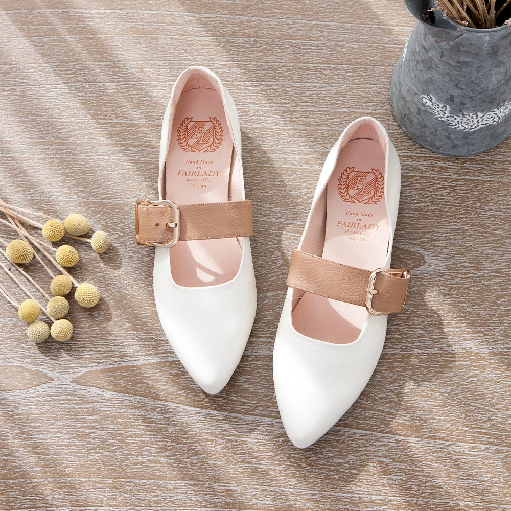 【新品】小時光 極簡清新繞帶尖頭低跟鞋 白(501286)
