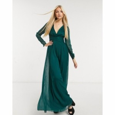 エイソス ASOS DESIGN レディース ワンピース マキシ丈 Bridesmaid Ruched Waist Maxi Dress With Long Sleeves And Pleat Skirt フォレ