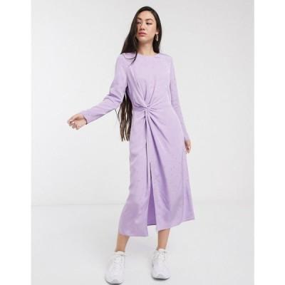 アンドアザーストーリーズ & Other Stories レディース ワンピース ミドル丈 ワンピース・ドレス leaf print midi dress in lilac jacquard