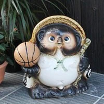 バスケットボール たぬき 置物 名入れ 9号 縁起物 信楽焼 おしゃれ 和風 陶器 【手作り】
