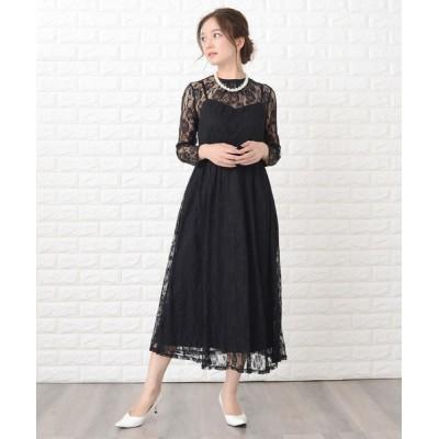 ドレス 花柄繊細レース&キャミソール2点セットドレス・ワンピース