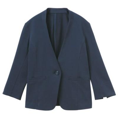 カットソーノーカラーVネックジャケット(吸汗速乾 洗濯機OK 選べる2レングス)/ネイビー(レギュラー丈)/L