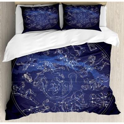 Ambesonne 星座布団カバーセット アンティークスカイマップ 手描き神話歴史銀河 装飾寝具3点セット 枕カバー2枚付き キングサイズ ブルーベージュ 並行輸入品